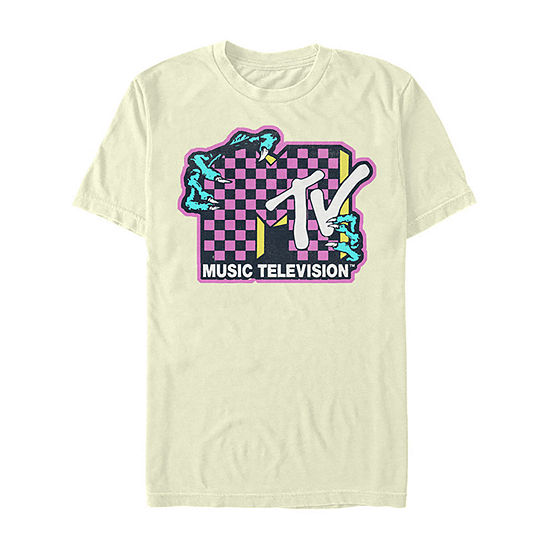 Mtv Checkered Zombie Hands Mens Crew Neck Short Sleeve Graphic T-Shirt