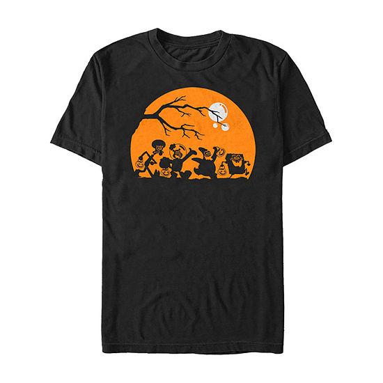 Spongebob Squarepants Group Trick Or Treat Silhouettes Mens Crew Neck Short Sleeve Graphic T-Shirt