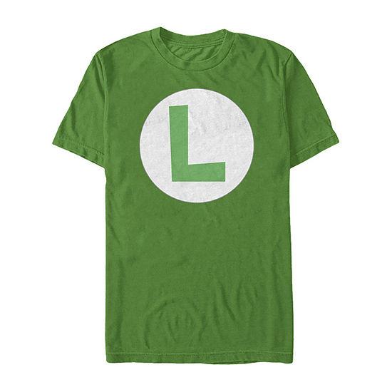 Nintendo Super Mario Luigi Icon Costume Mens Crew Neck Short Sleeve Graphic T-Shirt