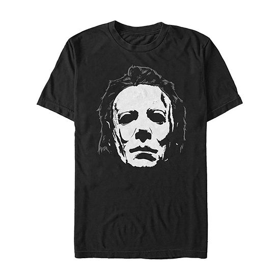 Halloween 2 Michael Myers Mask Close Up Mens Crew Neck Short Sleeve Graphic T-Shirt