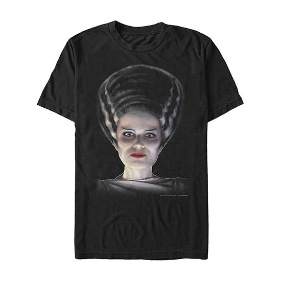 Universal Monsters Bride Of Frankenstein Big Face Mens Crew Neck Short Sleeve Graphic T-Shirt