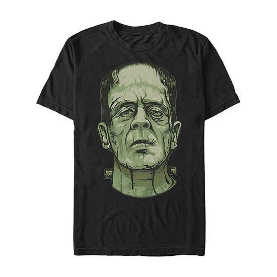 Universal Monsters Frankenstein Big Face Mens Crew Neck Short Sleeve Graphic T-Shirt