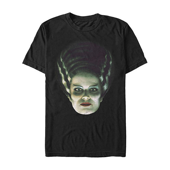 Universal Monsters Bride Of Frankenstein Big Face Mens Crew Neck Short Sleeve Graphic T-Shirt