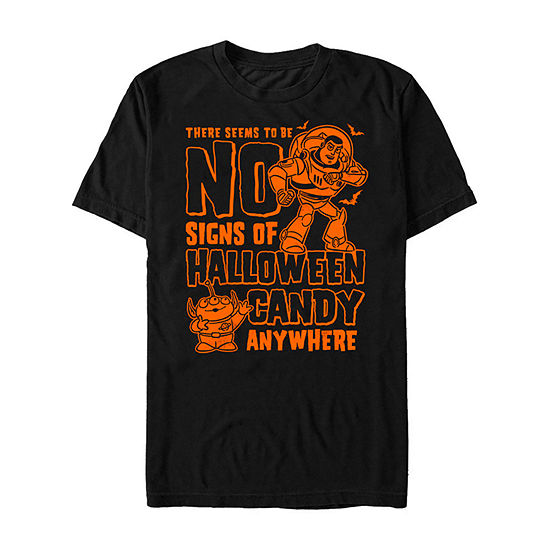 Toy Story Buzz Alien No Sign Of Halloween Candy Mens Crew Neck Short Sleeve Graphic T-Shirt