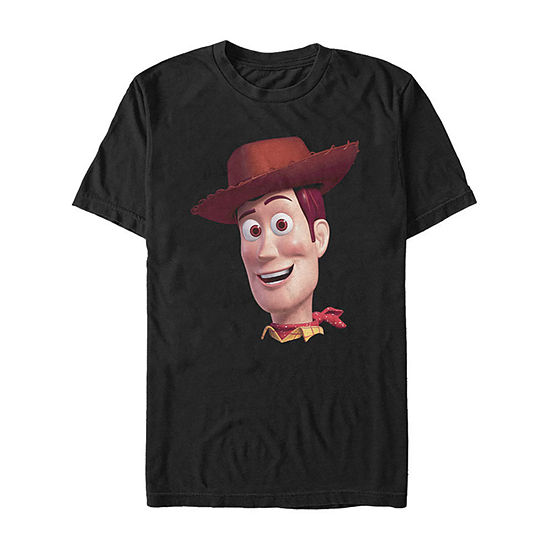 Toy Story Woody Big Face Mens Crew Neck Short Sleeve Toy Story Graphic T-Shirt