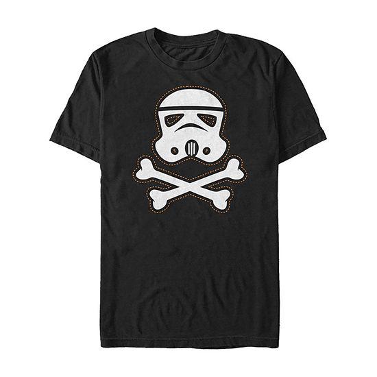 Star Wars Stormtrooper Skull Patch Mens Crew Neck Short Sleeve Star Wars Graphic T-Shirt