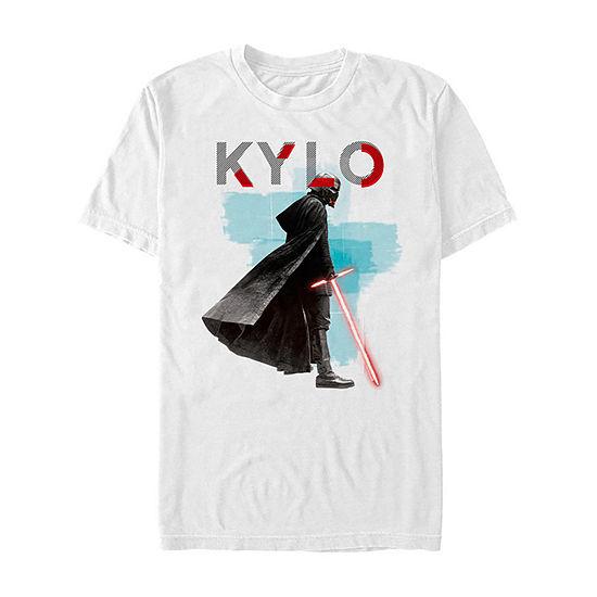 Rise Of Skywalker Watercolor Kylo Ren Mens Crew Neck Short Sleeve Star Wars Graphic T-Shirt