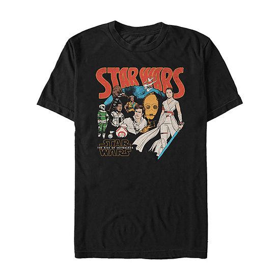 Slim Rise Of Skywalker Rey And Retro Buddies Mens Crew Neck Short Sleeve Star Wars Graphic T-Shirt