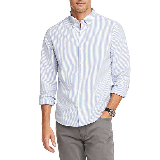 IZOD Saltwater Blues Mens Long Sleeve Striped Button-Front Shirt