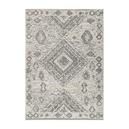 World Rug Gallery Distressed Geometric Bohemian Rectangular Indoor Rugs