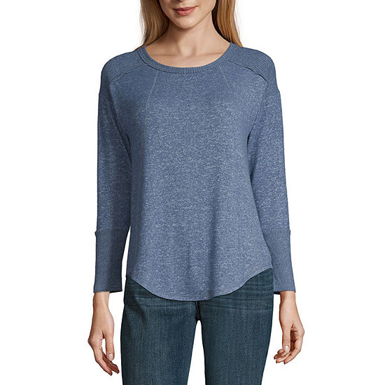 a.n.a. Womens Crew Neck Long Sleeve Knit Blouse