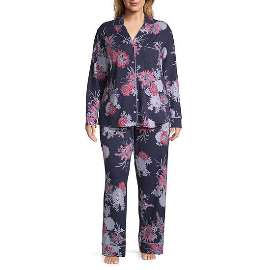 Liz Claiborne Womens Long Sleeve 2-pc Pant Pajama Set - Plus