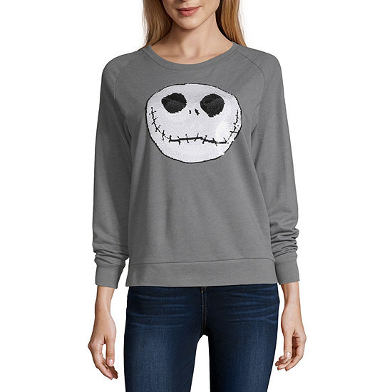 Womens Crew Neck Long Sleeve Nightmare Before Christmas Sweatshirt - Juniors