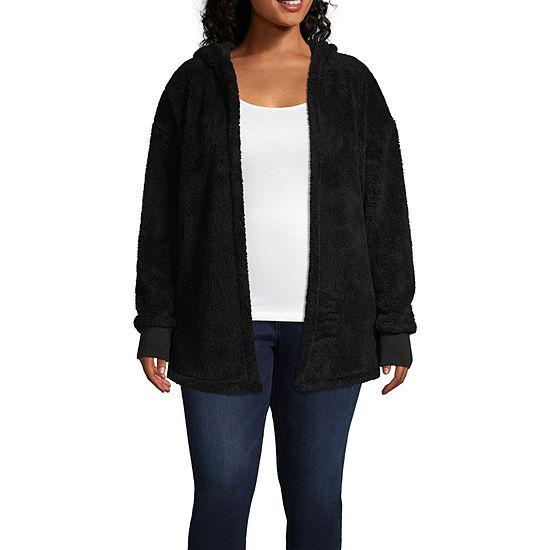 Knit Hooded Lightweight Jacket-Juniors Plus