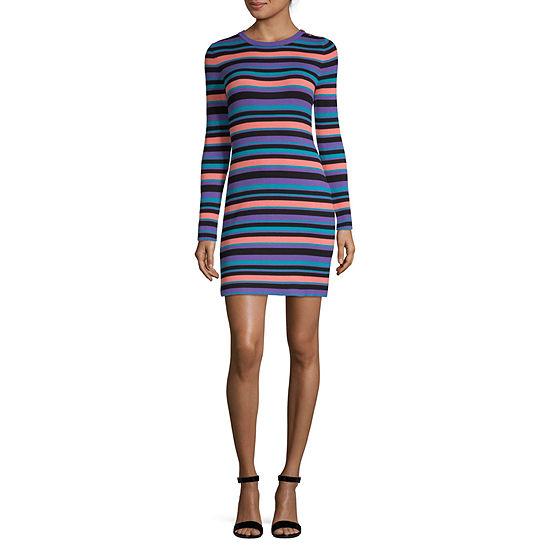 Arizona-Juniors Long Sleeve Striped Bodycon Dress