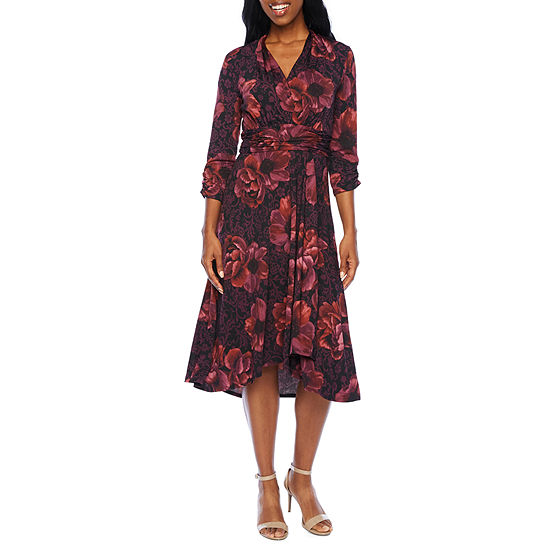 Perceptions 3/4 Sleeve Floral Fit & Flare Dress