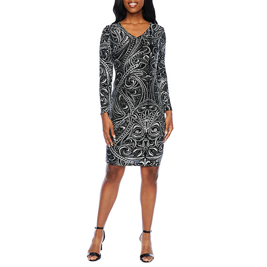 Blu Sage Long Sleeve Abstract Sheath Dress