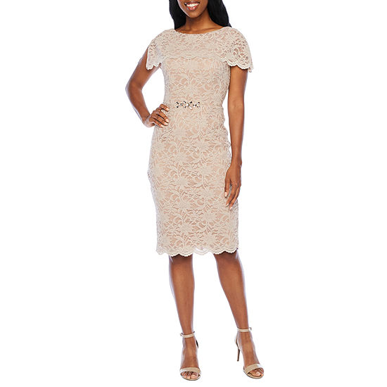 Jackie Jon Short Sleeve Embellished Lace Sheath Dress