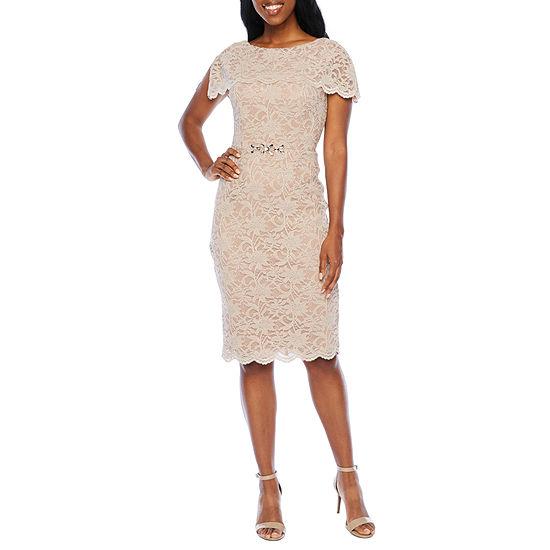 Jackie Jon Short Sleeve Embellished Lace Sheath Dress
