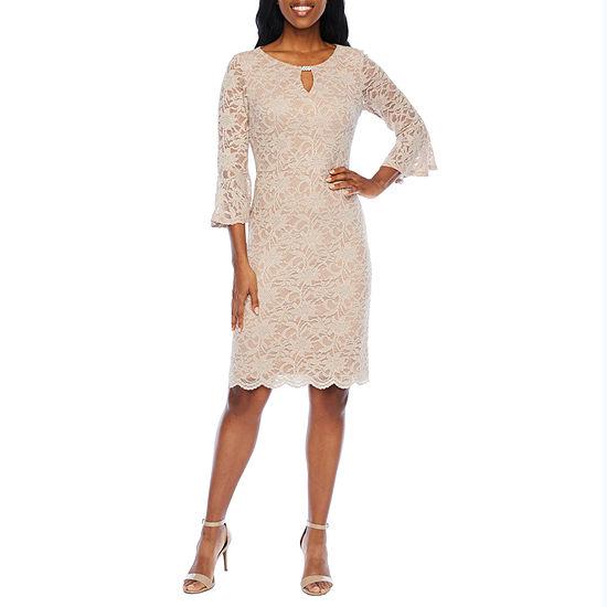 Jackie Jon 3/4 Bell Sleeve Embellished Lace Sheath Dress