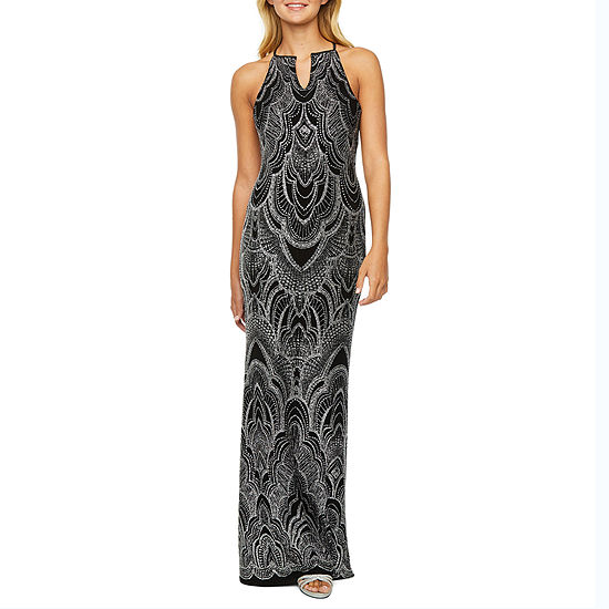 Blu Sage Sleeveless Glitter Knit Evening Gown