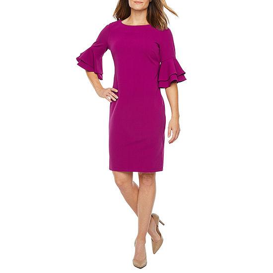 Liz Claiborne Short Tiered Bell Sleeve Sheath Dress