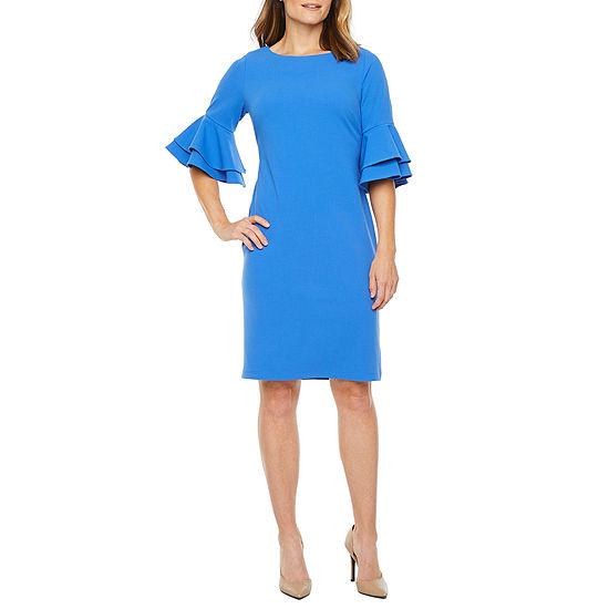 Liz Claiborne Short Tiered Bell Sleeve Midi Sheath Dress
