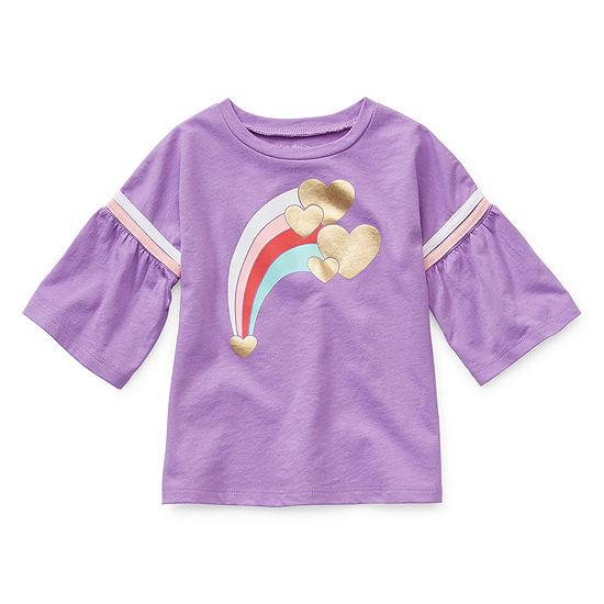 Okie Dokie Girls Round Neck Short Sleeve Graphic T-Shirt-Toddler