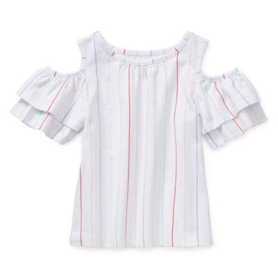 Okie Dokie Girls Round Neck Short Sleeve Blouse Toddler