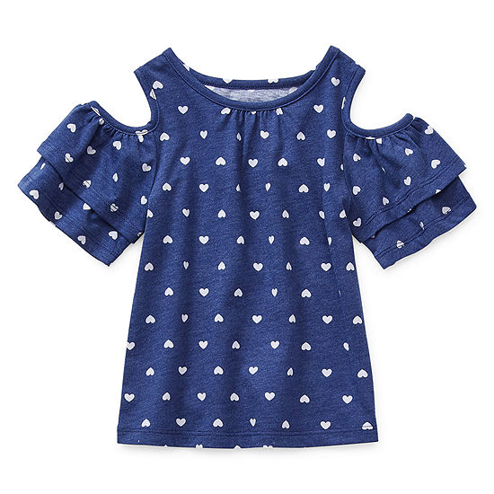 Okie Dokie Toddler Girls Round Neck Short Sleeve Blouse