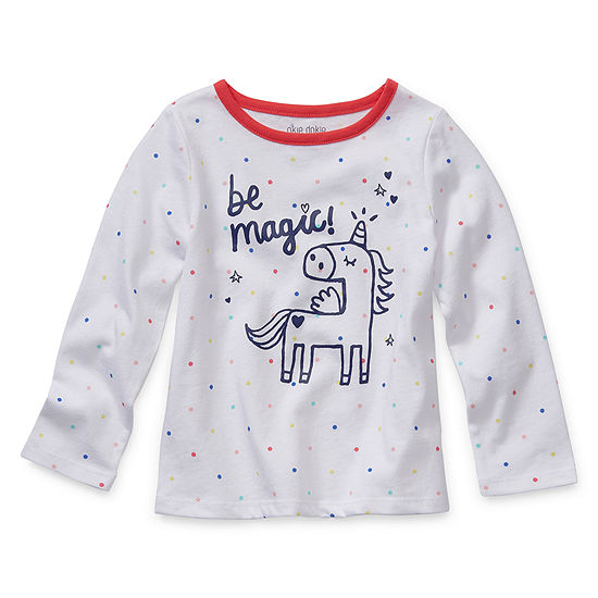 Okie Dokie Girls Round Neck Long Sleeve Graphic T-Shirt-Toddler