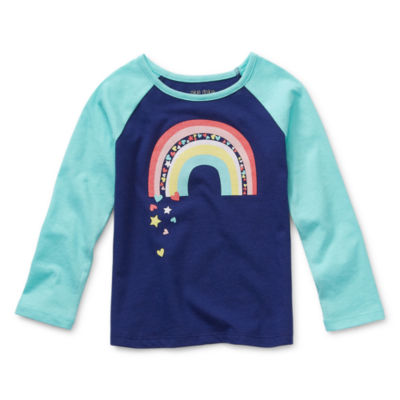 Okie Dokie-Toddler Girls Round Neck Long Sleeve Graphic T-Shirt