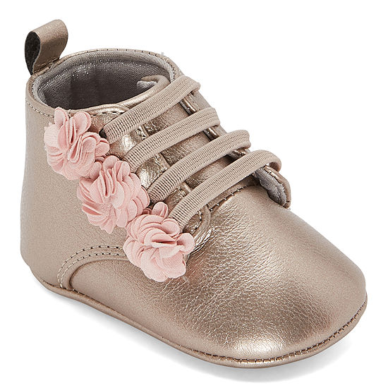 Okie Dokie Girls Flower Hi Top Crib Shoes