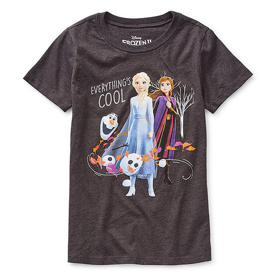 Disney Girls Crew Neck Short Sleeve Glitter Frozen 2 Graphic T-Shirt - Preschool / Big Kid