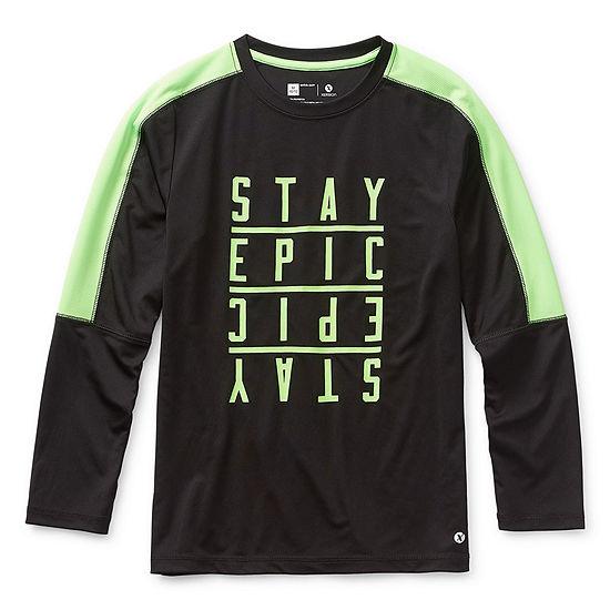 Xersion Boys Crew Neck Long Sleeve Graphic T-Shirt - Preschool / Big Kid