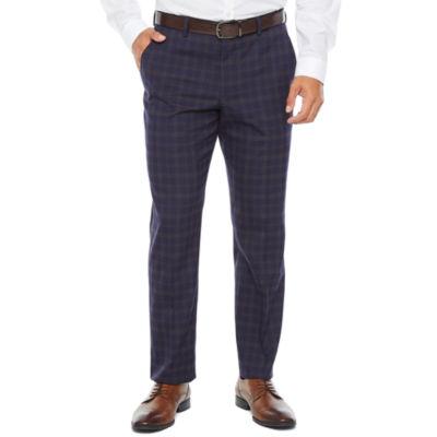 JF J.Ferrar Plaid Slim Fit Stretch Suit Pants