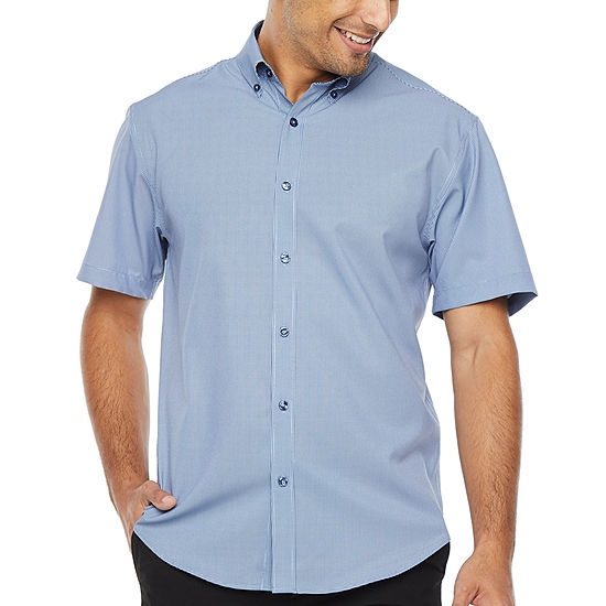 Society Of Threads 4 Way Stretch Mens Short Sleeve Gingham Button-Front Shirt