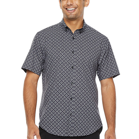 Society Of Threads 4 Way Stretch Mens Short Sleeve Geometric Button-Front Shirt