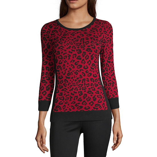by&by Womens Scoop Neck Long Sleeve Animal Sweater Set-Juniors
