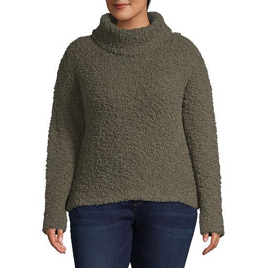 Arizona-Juniors Plus Womens Turtleneck Long Sleeve Pullover Sweater