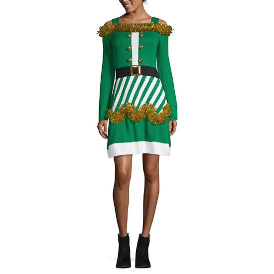 City Streets Long Sleeve Embellished Drop Waist Dress-Juniors