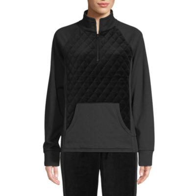 St. John's Bay Active Womens Long Sleeve Quarter-Zip Pullover