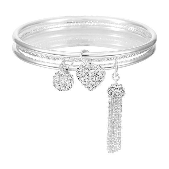 Mixit Heart Silver Tone Solid Bangle Bracelet