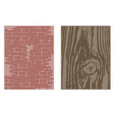 Sizzix® Texture Fades Embossing Folders, Bricked & Woodgrain 2-pk.