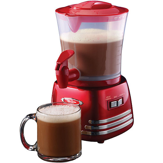 Nostalgia Retro 32-Ounce Hot Chocolate, Milk Frother, Cappuccino, Mocha, Latte Maker and Dispenser
