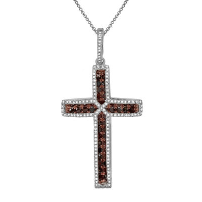 LIMITED QUANTITIES 3/4 CT. T.W. White & Color-Enhanced Cognac Diamond Cross Necklace