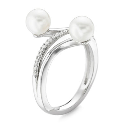 Cultured Freshwater Pearl and Lab-Created White Sapphire Ring