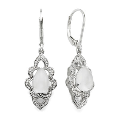 Genuine Moonstone and Lab-Created White Sapphire Earrings