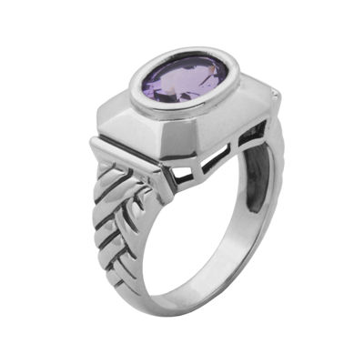 Genuine Brazilian Amethyst Oxidized Sterling Silver Ring