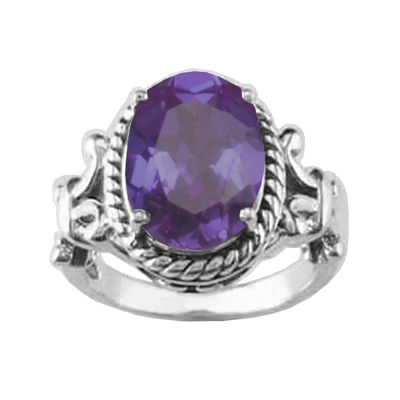 Genuine Amethyst Oxidized Sterling Silver Rope Ring